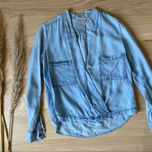 Anthropologie Chambray Wrap Top
